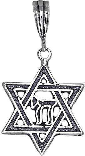 eJewelryPlus Sterling Silver Star of David with Chai Pendant Necklace Charm 18