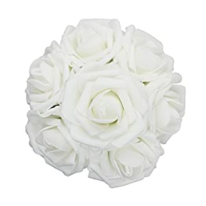 50pcs Artificial Flower,Real Touch Artificial Foam Roses Decoration DIY for Wedding Bridesmaid Bridal Bouquet Centerpieces Party (50, white) 99