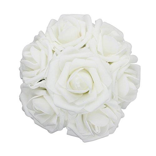 25pcs Artificial Flower,Real Touch Artificial Foam Roses Decoration DIY for Wedding Bridesmaid Bridal Bouquet Centerpieces Party (25, (White Rose Wedding Bouquets)
