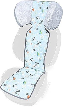 PRIEBES MORITZ Sitzauflage für Autokindersitz Gruppe II - III   Universal Sitzeinlage für Kindersitze   Schonbezug 100 % Baumwolle   waschbar   einfache Befestigung   Wendeeinlage für Sommer und Winter, Design:ballons aqua Priebes OHG