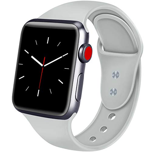 ATUP Sport Band Compatible with Apple Watch 38mm 40mm 42mm 44mm Women Men, Soft Silicone Replacement Bands for iWatch Apple Watch Series 4, Series 3, Series 2, Series 1 (Gray, 38mm/40mm-S/M)