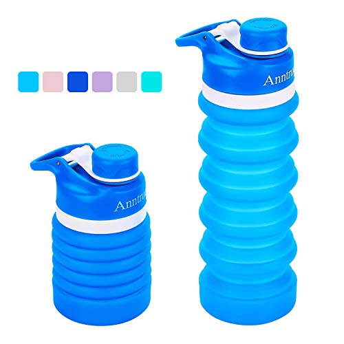 (Anntrue Collapsible Water Bottle BPA Free, FDA Approved Food-Grade Silicone Portable Leak Proof Travel Water Bottle, 18oz(Sky)