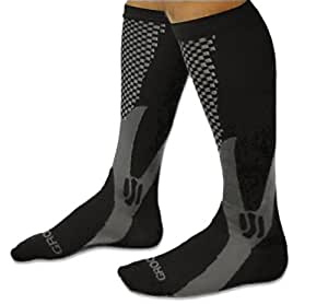 Compression Socks for Men and Women Running Knee High Black By Groove Socks