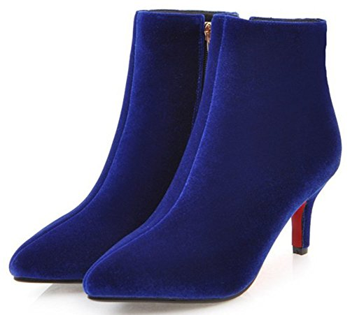 Blue Dressy Suede Easemax Short With Boots Pointy Women's Stiletto Ankle Toe Faux Heel Zipper Mid High R55Zqr