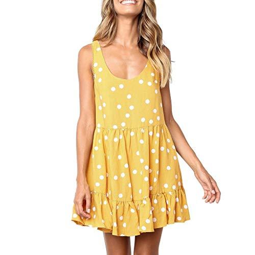 Zlolia Women's Polka Dot Dresses Sleeveless Round Neck High Waist Pleated Skirt Ladies Summer Beach Cocktail Party Dress Yellow (Yellow Umbrella Buy Online)
