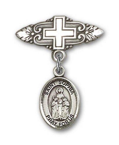 Icecarats Créatrice De Bijoux En Argent Sterling St. Sophia Broche De Badge Charme Avec Une Croix X 3/4