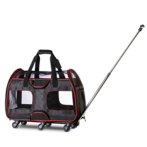 "Airline Approved Pet Carrier with Wheels For Small Dogs and Cats - Removable Fleece Bed, Soft Sided, Mesh Windows, Leash Clip, Handle, Carrying Strap – 11""x22""x16"" - Classic Design - By WPS"
