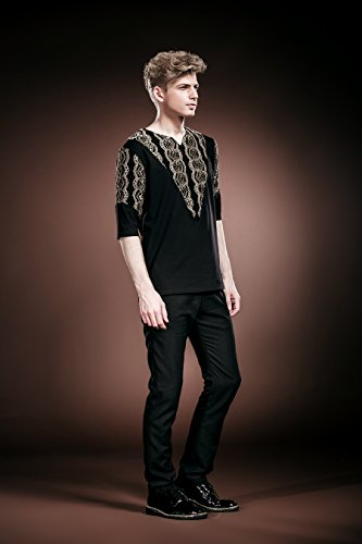 0e39a4c9 FANZHUAN Men Black T Shirts Half Sleeve Golden Lace Slim Fit Casual ...