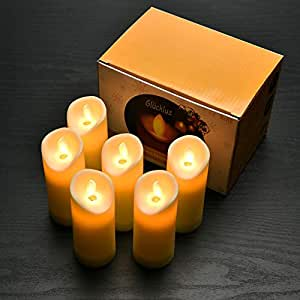 Flameless LED Candle Lights Real Flickering Realistic Electric Votive Candles Tea Light for Wedding Birthday Parties 1 AA Battery Powered 6 PACK (Battery Not Included)