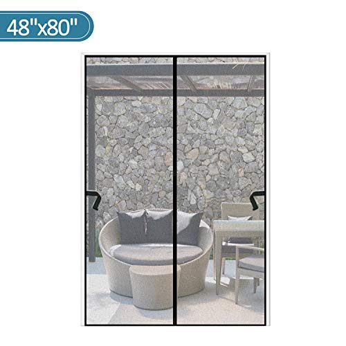 Magnetic Screen Door 48 x 80 inch, CHUSSTANG Heavy Duty French Door Mesh Curtain Magnet Patio Door Cover Auto Closer Sliding Door Screen Door with Full Frame Hook and Loop Keep Bugs Out