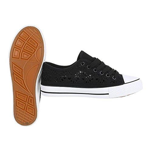 Ital-Design - Zapatillas de tela para mujer Schwarz 6718-Y