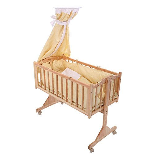 LAZYMOON Pine Wood Baby Crib Child Cradle Nursery Side Bed Toddler Daybed Furniture w/ Canopy, Beige