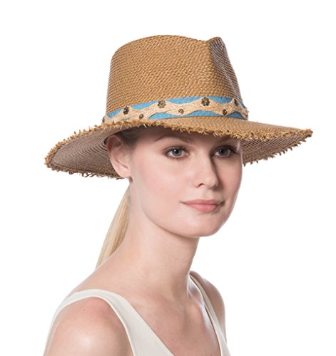Eric Javits Fashion Designer Women's Headwear Hat - Kadija - Natural/Blue by Eric Javits