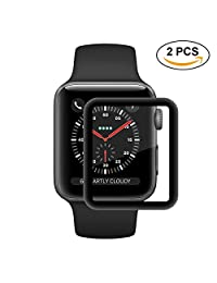 LiangGui 2 Pack Apple Watch Full Coverage Screen Protector, Tempered Glass Screen Protector Anti-scratch Bubble-free for Apple iWatch Series 2/ 3 42mm/ 1.65inch