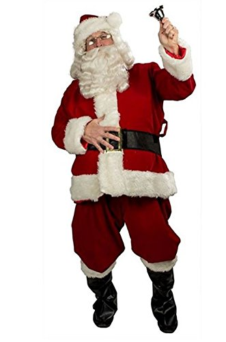 happy deals Deluxe Velour and Plush Santa Suit Costume - fits up to 48 inch Waist Deluxe Velour Santa Suit