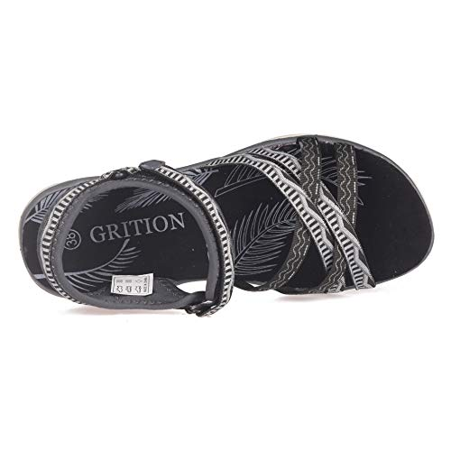Pictures of GRITION Women Hiking Sandals, Outdoor Girl Sport Summer Flat Beach Water Shoes Open Toe Adjustable Walking Shoes (11 US, Black/Grey) 4
