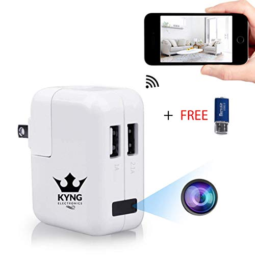 Kyng Electronics - Wireless Double USB Charger Hidden Spy Camera w/HD Remote View & Loop Recording - Motion Sensor Home & Office Security Camera Surveillance System - iPhone iOS/Android ()