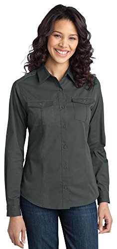 Port Authority Ladies Stain-Resistant Roll Sleeve Twill Shirt, Steel Grey, XX-Large ()