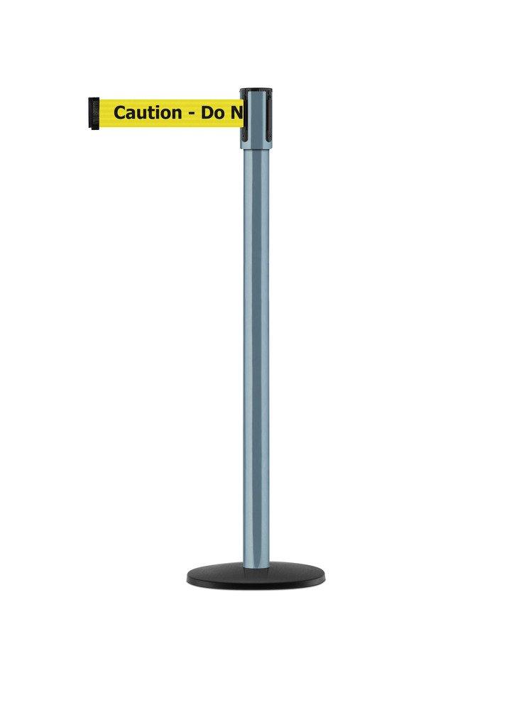 Tensabarrier - 890B-33-81-81-STD-NO-YAX-C - silver moon post, 2'' wide, 7'6'' length yellow Caution Do Not Enter belt