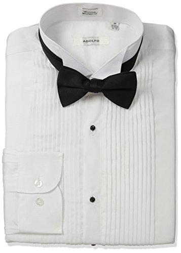 Adolfo Men's Tuxedo Shirt and Bow Tie, White, Small (14-14.5/32-33)