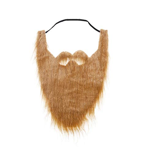 LERORO Funny Costume Party Male Man Halloween Beard Facial Hair Disguise Game Black Mustache Top Quality Party Tools (Brown)]()