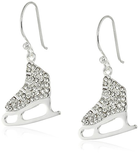 Silver-Plated Crystal Ice Skate Dangle Earrings -