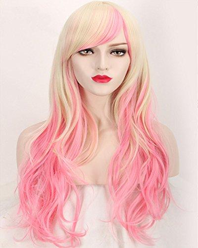 Fashion wigstyle serie Macross Sheryl Nome colorido largo ondulado cosplay peluca rubia de la Sirenita rosa