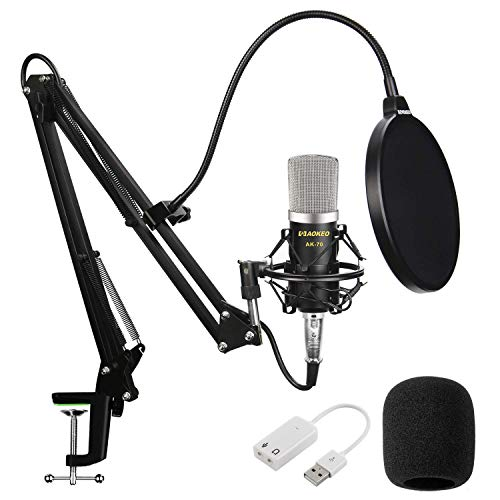 Aokeo AK-70 Professional Studio Live Stream Broadcasting Recording Condenser Microphone With AK-35 Suspension Scissor Arm Stand, Shock Mount, Pop Filter, USB Sound Card and Mounting Clamp (Best Piano Microphone For Live Sound)