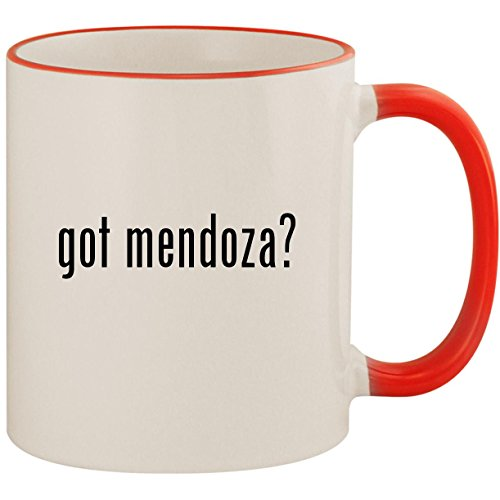 (got mendoza? - 11oz Ceramic Colored Handle & Rim Coffee Mug Cup, Red)