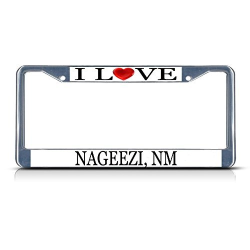 License Plate Frame I Love Heart Nageezi Nm Aluminum Metal License Plate Frame Silver
