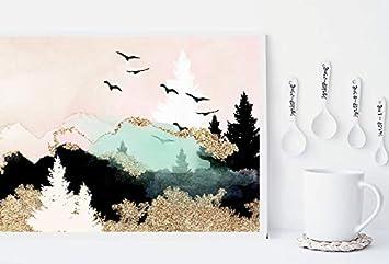 5D DIY Diamond Painting Kits Full Round DIY Cross Stitch Pattern Rhinestone Embroidery Kits Arts Craft Wall Sticker 12X16 Mountain and Sun