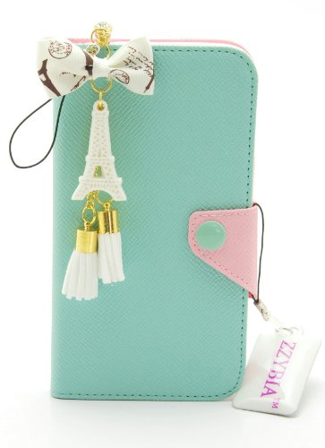 ZZYBIA® IP5 LMZT Mint Leatherette Case Card Holder Wallet with a Eiffel Tower Fringed Dust Plug Charm for Apple Iphone 5 5s