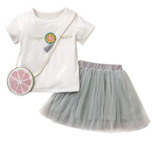 Qpika Toddler Kids Baby Fashion Girls Outfits Letter Print Tops+Tulle Skirt+Bag 3PCS Set