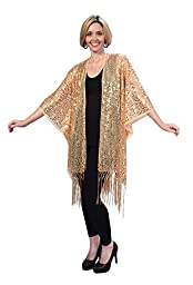 Womens Mother of the Bride Beaded Fashion Shawl Tunic Poncho Cover up Top (Gold)