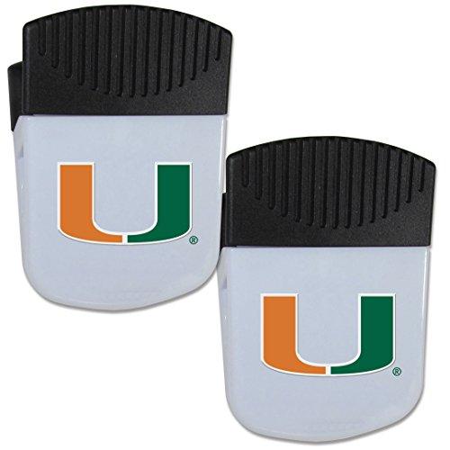 Opener Ncaa Hurricanes Bottle Miami - Siskiyou NCAA Miami Hurricanes Chip Clip Magnet with Bottle Opener, 2 Pack
