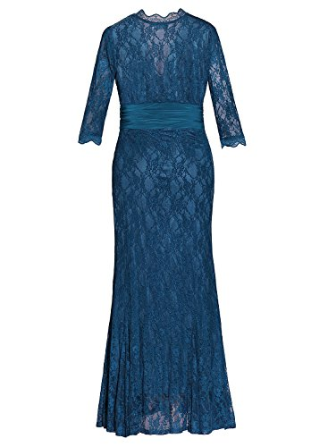 Plus da Blu sera Abito Lace da Size 4 a Aneledy manica cocktail 3 taglie Dress di donna forti Lace dwqIxC4g