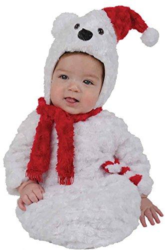 UHC Baby's Christmas Polar Bear Plush Bunting Fancy Dress Infant Child Costume, (Christmas Polar Bear Bunting)