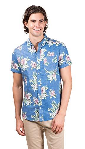 Brooklyn Athletics Men's Hawaiian Aloha Shirt Vintage Casual Button Down Tee, Light Blue Floral ()