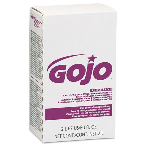 Soap Deluxe 2000ml Refill Lotion (GOJO NXT Deluxe Lotion Soap w/Moisturizers 2000 mL, Floral Scent, Pink - four soap refills.)