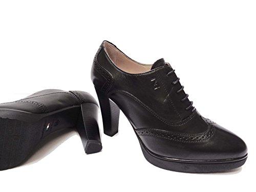 Nero Giardini 19122 scarpe da donna francesine con lacci in pelle Nero tacco cm. 9, num. 38