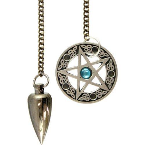 Kheops International - Metal Pendulum with Pentacle Cone Brushed Metal Celtic Pendulum