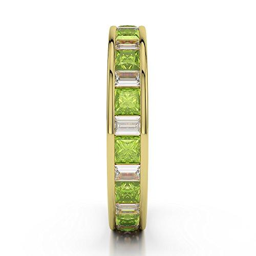 Or jaune 18carats 3/4ct G-H/VS Certifié Princesse et baguette Cut Péridot et diamant éternité Bague Agdr-1141