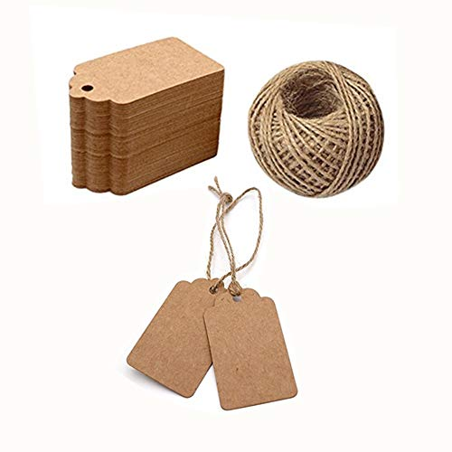 ILYM 100pcs Kraft Paper Gift Tags with Free 100 Root Natural Jute Twine String for Arts and Crafts, Valentine's Day, Wedding and Holiday, Christmas Day Thanksgiving (Brown)]()