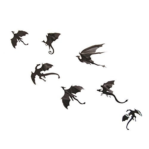 Loweryeah 3D Gothic Dragons wall stickers Decal Removable Halloween Festival Decor Black DIY wall stickers with Poster
