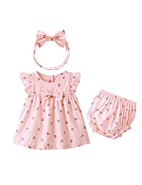 Kanodan Baby Girl Summer Dress Outfit Cute Pink Dress Bows 3 Piece Suit with Shorts