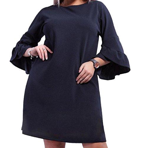 Scuro Della Elegante Comodi size Bagliore Blu Plus Tunica Vestito Manica Superiore Womens Solida XwAtHqq7