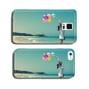 beautiful woman with colorful balloons on seaside cell phone cover case iPhone6