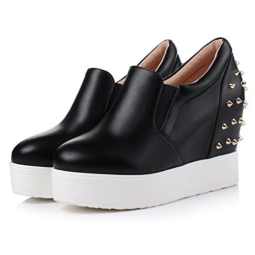 Shoes Imitated Heels High Slip Ladies Pumps On BalaMasa Leather Black Studded qpwRAWf