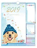 2019 Daily Planners, 2019 Academic Year Day Planner 14.3'' x 11.2'' Desk Calendar for College School Student Teacher + Tear-Off Lists + Sticky Notes with Event Stickers Variety Set by Plantime (Dog)