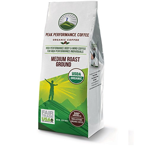 Peak Performance High Altitude Organic Coffee. No Pesticides, Fair Trade, Non GMO, And Beans Full Of Antioxidants! Medium Roast Low Acid Smooth Tasting USDA Certified Organic Ground Coffee 12oz - Organic Ground
